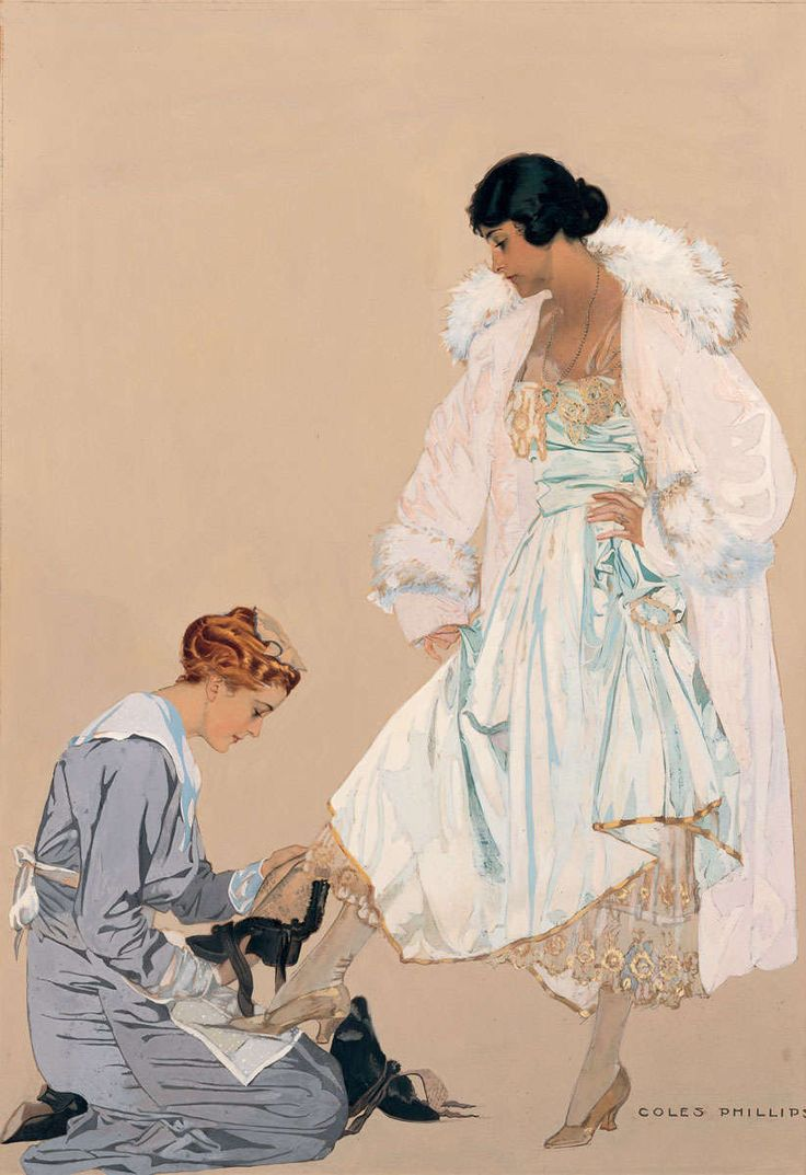 """Cole Phillips, """"High Fashion (Maid & Lady)"""" c.1916 – The Lucas Museum of Narrative Art"""