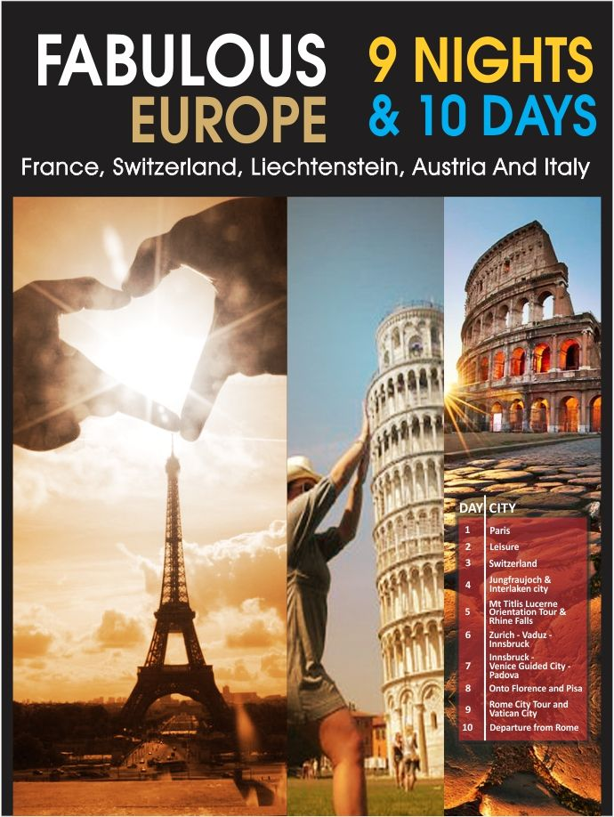 Planning a #vacation outside #India? To make your next #holiday a #memorable one, take a holiday to #Europe with our #package. you will get to visit the delightful #countries of Europe like #France, #Switzerland, #Liechtenstein, #Austria and #Italy #flamingo #travels #tours #trip