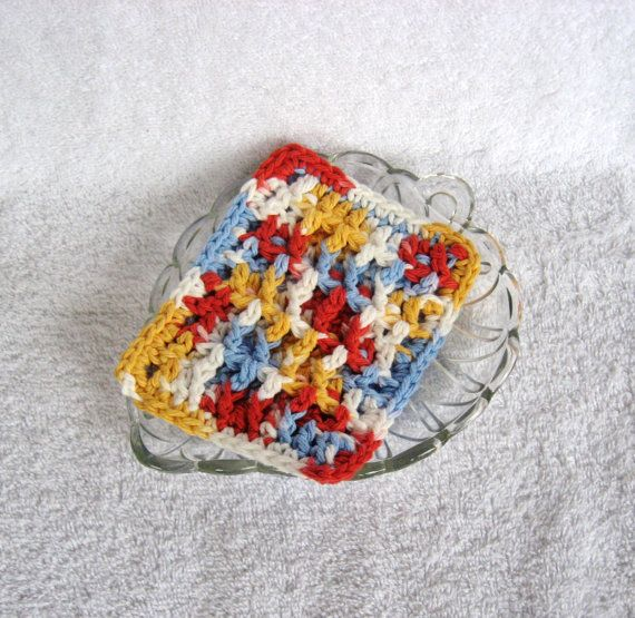 Blue Yellow Red Crochet Ribbed Kitchen Sponge by GreenHome22