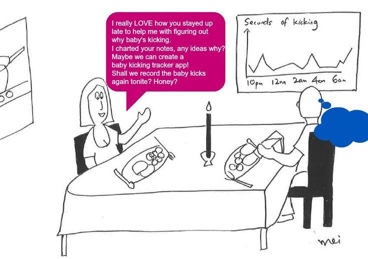 Surprise Hubby! Let's Track #Baby Kick .... http://eczemablues.com/2014/12/mom-needyzz-cartoon-baby-kicking-tracker-app/ #Pregnancy #Cartoon