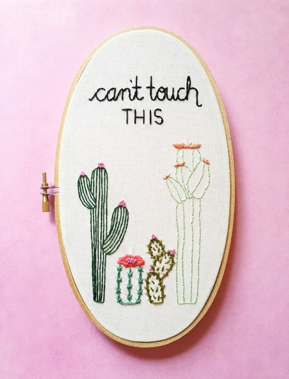 Cacti Decor. Hand Embroidery. Embroidery Hoop Art. Oval by KimArt