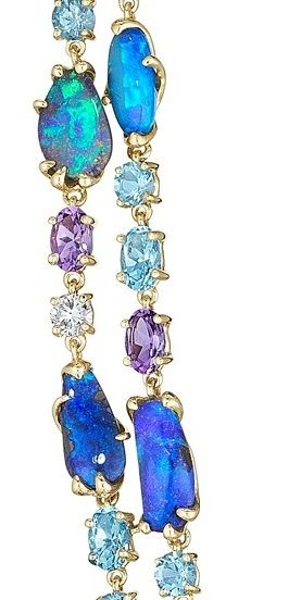 Detail: Necklace from the Mimi So ZoZo opal collection with opal, amethyst, aquamarine, diamond and blue topaz.  Via Diamonds in the Library.