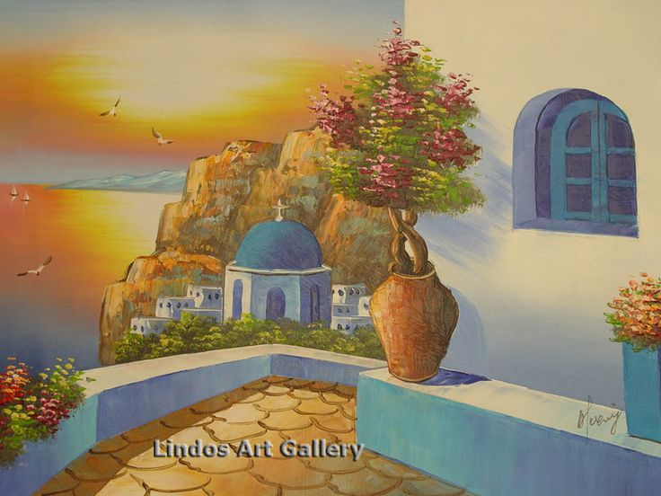Oil Paintings : Santorini Sunset View Oil Painting