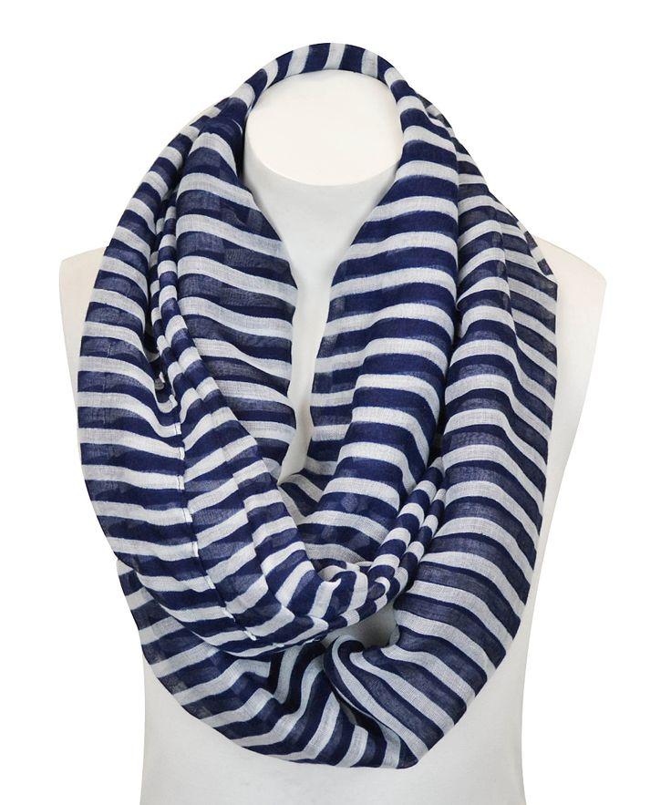 Navy Blue & White Stripe Infinity Scarf