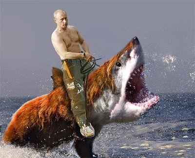 Vladimir Putin, Russia's most eligible bachelor, riding the BearSharktopus