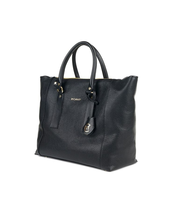 81 CARATI Black hammered leather shopper with rigid leather handles removable shoulder strap one inner pocket engraved front contrast logo magnetic button closure 100% Genuine leather Size: 36x30,5x14,5 cm