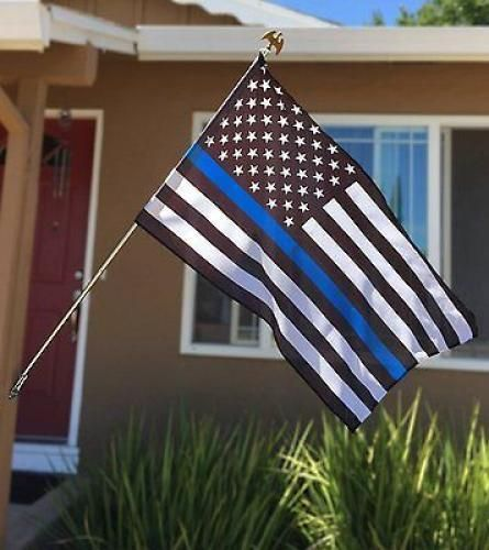 NEW Thin Blue Line U.S. American Flag - 3x5 Foot with Grommets #Anley
