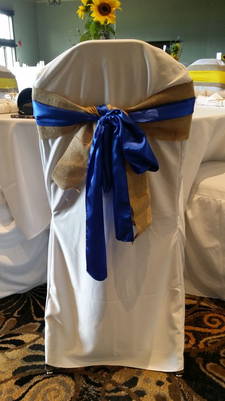 Blue satin and Burlap chair sashes
