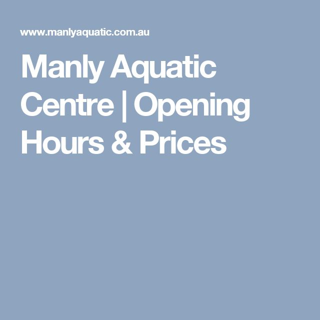 Manly Aquatic Centre   Opening Hours & Prices