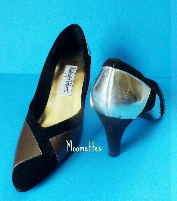 Midnight Velvet Black Gold Silvery Party Shoes Pumps Heels Womens 7M #MidnightVelvet #PumpsClassics #Party