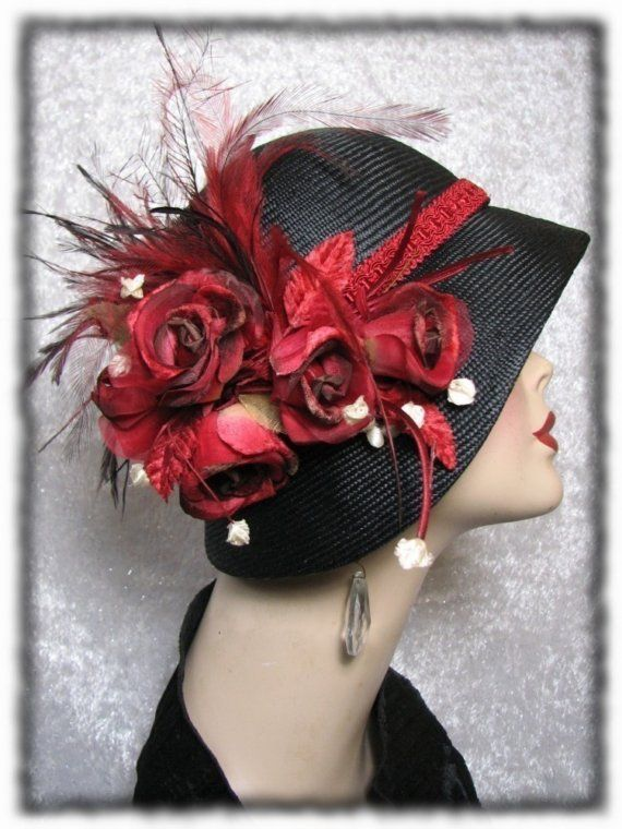 Hat  Black Straw Cloche hat 1920s Flapper Hat  by BoringSidney, $256.00