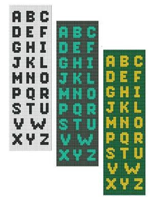 For sale is Bead Loom Alphabets Font 1 All Letters Bracelet Pattern Chart in PDF format. This alphabet includes 3 designs shown on the listing
