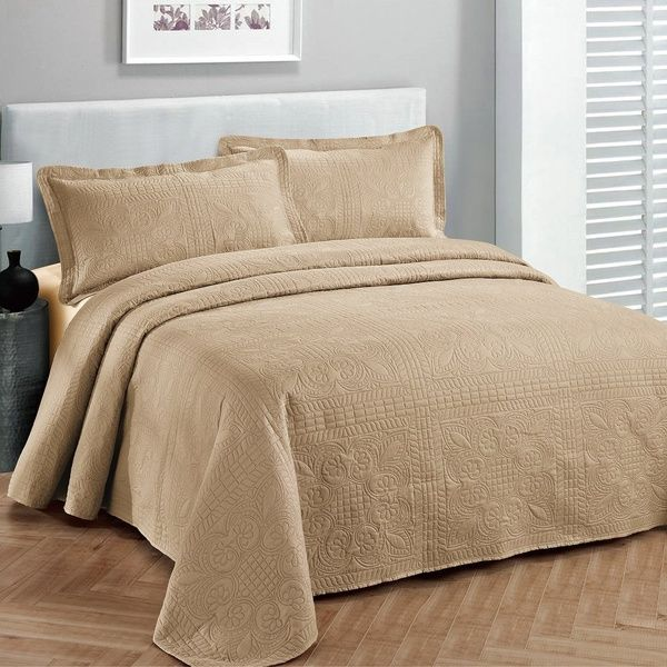 Fancy Collection 3pc King//California King Oversize Bedspread Coverlet Set Embossed Solid Black New