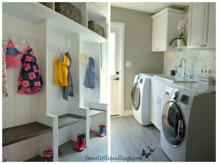 Transform an old laundry room into an updated mudroom - threelittleseedlings.com