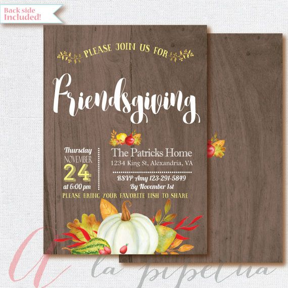 Thanksgiving invitation. Printable Thanksgiving invite. Friendsgiving…