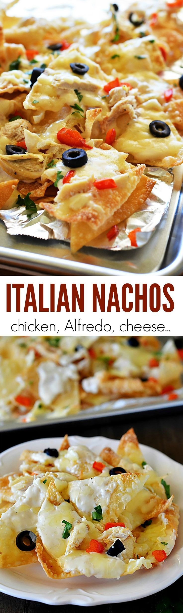 These nachos will have you begging for more! Grilled chicken, Alfredo sauce and lots of goeey cheese!