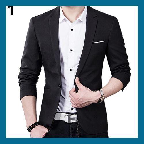 Men's Slim Blazer Formal Business Suit One Button Lapel Long Sleeve Pockets Top