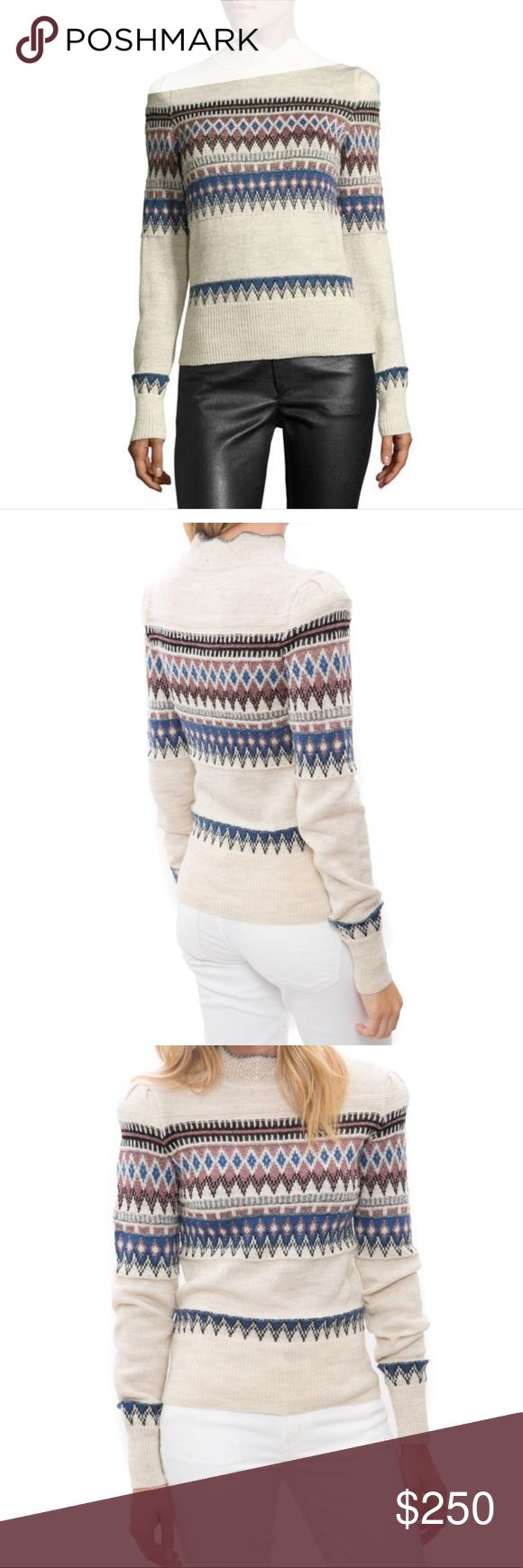 Etoile Isabel Marant, Blake Fair Isle Ecru Sweater This sweater is simply gorgeous on the hanger & gives a slim feminine shilhoutte when on! It's crafted from a wool blend with metallic threading for a subtle sparkle. The design is influenced by Scandanavian intarsia knit. I've worn it for aprés-ski & with a plum skirt for work and after-work cocktails.  It's highly versatile. I had a mishap with my original so I ordered another, but it's the wrong size. It's never been worn & VERY difficult…