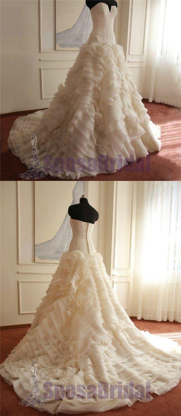 Sweetheart Gorgeous Elegant Formal Ivory Beautiful Handmade Wedding Dresses, Wedding Gowns, PD0562