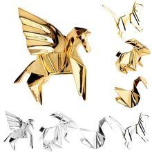 Мода Золото Серебро Геометрия Оригами Броши Животных Metal Cat Кролик Лошадь Птица 3D Значок Штырей Корсаж Ювелирные Изделия(China (Mainland))