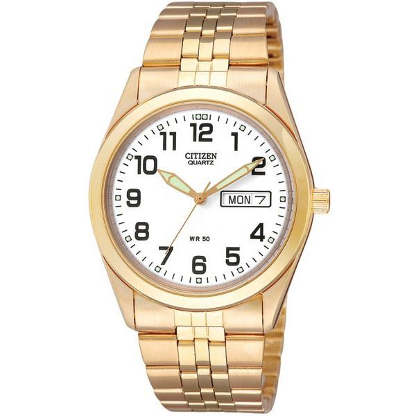 WATCH CITIZEN STAINLESS STEEL AND YELLOW GOLD PLATED CASE AND BRACELET ROUND WHITE DIAL FULL FIGURED DAY/DATE 50M WATER RESISTANT - Jons Family Jewellers