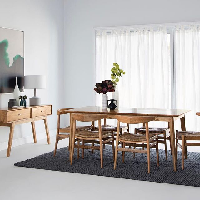 Dining room goals with our Sari dining table with Porto tanduk dining chairs and Sari console for a simplistic, yet trending space #ozdesignfurniture #diningroom #global #dining #entertaining #dine #entertain #interiors #homedecor #style #design #home #home #FF #F4F