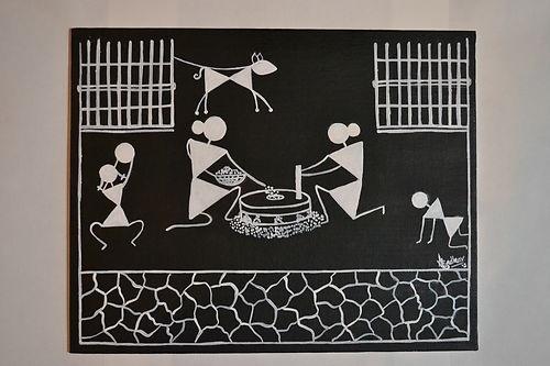 Warli painting ethnic art from India on ebay