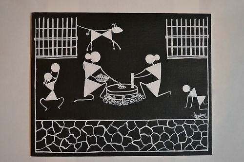 Warli painting ethnic art from India on ebay
