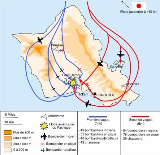 1939 1945 - Carte de l'attaque de Pearl Harbor