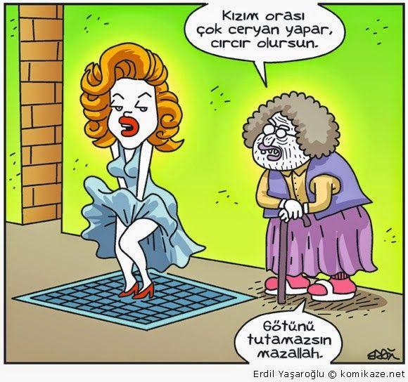 Kızım orası çok ceryan yapar, cır cır olursun. Götünü tutamazsın mazallah. #karikatür #mizah #matrak #komik #espri