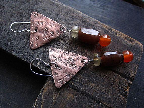 Carnelian Earrings, Rustic Earrings, Long Earrings, Textured Earrings, Copper Earrings, Dangle Earrings, Statement Earrings, Boho Earrings