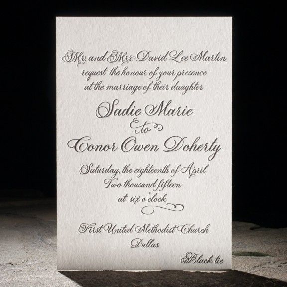 the fitzroy suite. design highlights:letterpress printing. plaza -- an exclusive smock calligraphy font. teal foil edging. custom envelope liners. elegant die-cut coasters. tradition with a twist.