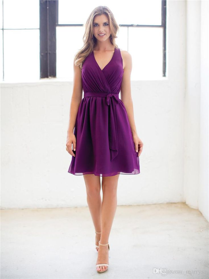 Purple Bridesmaids Formal Dresses V Neck Short Knee Length Chiffon Maid of Honor Wedding Party Gowns for Women Girls 2016 Spring Hot Online with $66.51/Piece on Marrysa's Store | DHgate.com