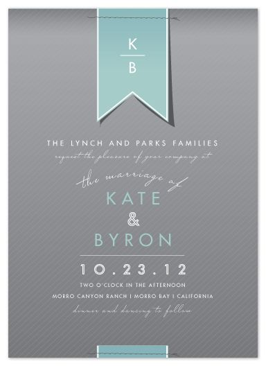 classy invitations by Citrus Press Co. - design is too trad for my taste but I love the paper ribbon