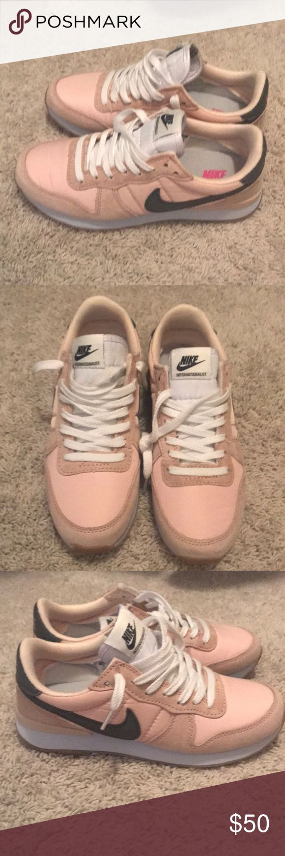 Nikes Brand new never worn!!! Light pink with bubble gum bottoms. Size 7. No box. Just little to big for me, need a 6.5 Nike Shoes Sneakers