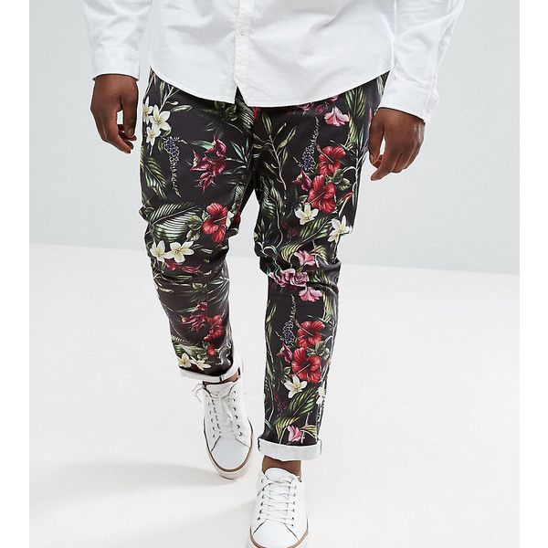 ASOS PLUS Super Skinny Trousers In Bright Floral Leaf Print (£30) ❤ liked on Polyvore featuring men's fashion, men's clothing, men's pants, men's casual pants, black, mens bright colored pants, mens denim pants, mens skinny fit dress pants, mens floral print pants and mens skinny pants