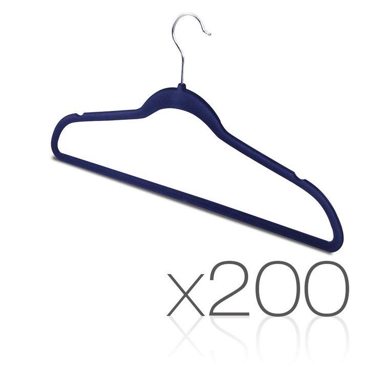 200 pack Coat Hangers w/ A Flock Velvet Nonslip Slimline Hangers Wardrobe Closet Navy
