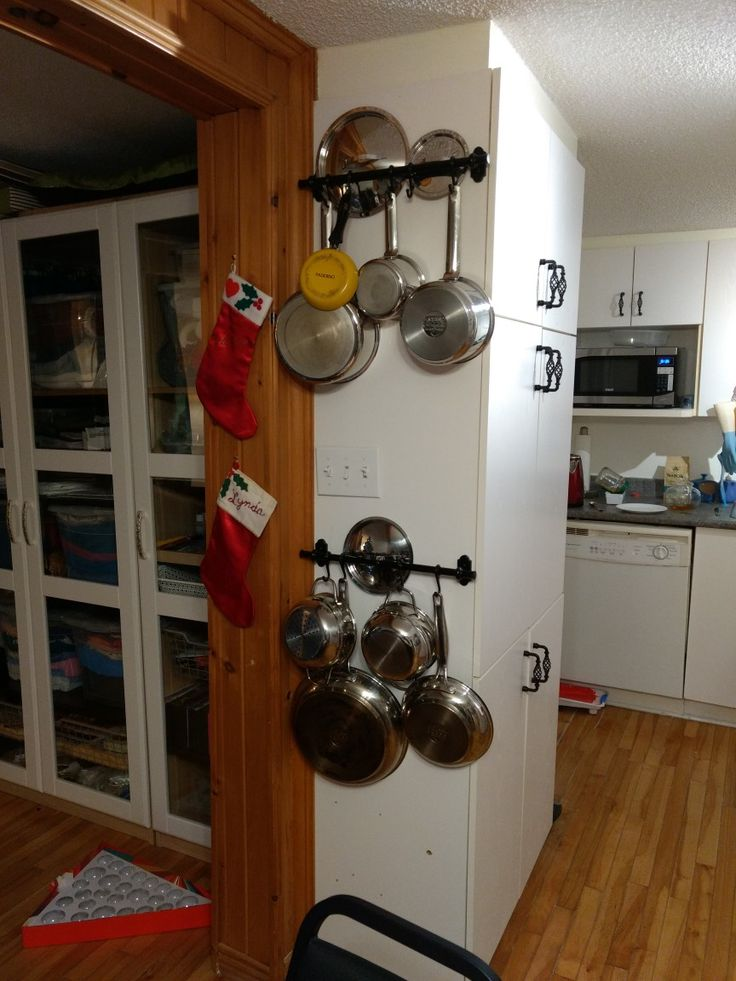 Finally.  All the pots are hung with enough hooks for all.