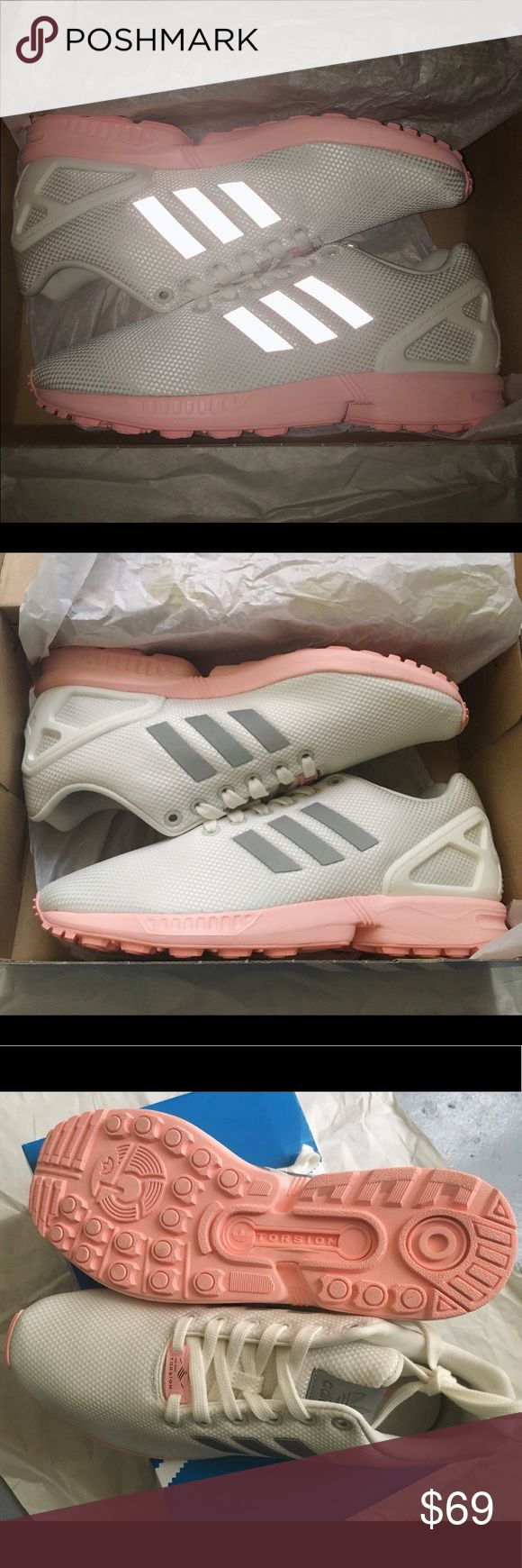 ADIDAS ZX FLUX WHITE REFLECTIVE PINK SHOES BA7642 100% AUTHENTIC + ORIGINAL BOX BRAND NEW / NEVER WORN  ADIDAS ZX FLUX WHITE METALLIC/REFLECTIVE GREY PINK SOLE SHOES (BA7642)  US WOMEN SIZE 9    PURCHASED ON ZUMIEZ.COM ORIGINAL PRICE $89.95 BEFORE SHIPPING+TAX   READY TO SHIP (US ONLY)  PAYPAL ONLY adidas Shoes Sneakers