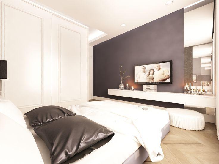 Czarno-biała sypialnia .Z boku widoczna  eklektyczna biała szafa z drugiej strony grafitowa ściana