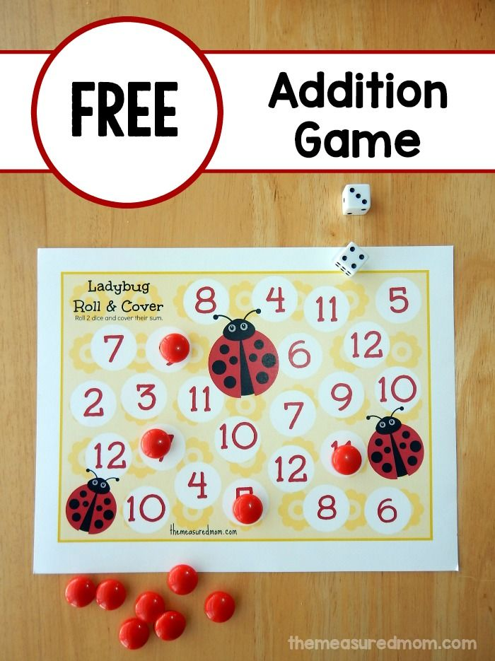 Looking for a spring roll and cover game?  This free ladybug math printable is the perfect addition game for spring!