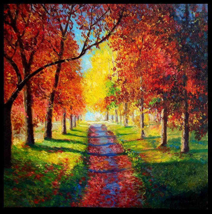 """Road under the trees. Autumn"".Pintura al oleo sobre lienzo."