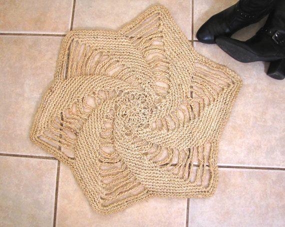 crocheted sisal rope rug by flutterfelt on etsy - Sisal Rope