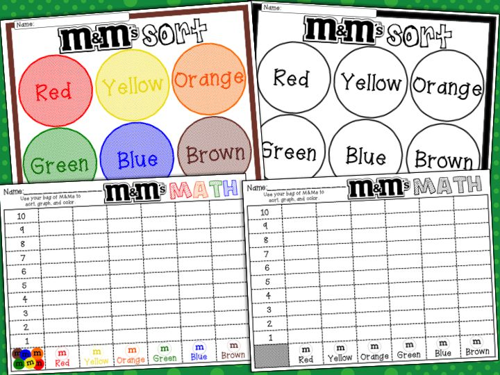 Math M&M Monsters (Color, Sort, Count, Graph, Compare, Add ...