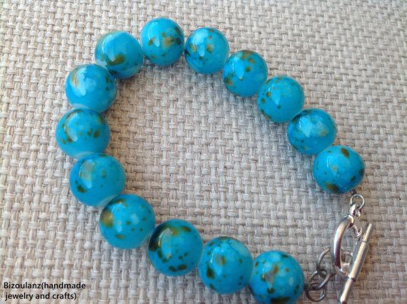 Glass teal and brown bead bracelet, stack bracelet,birthday present,mother's day gift,everyday wear spring and summer jewelry by bizoulanz