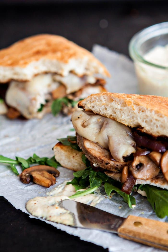 Crusty sandwich rolls are layered with savory steakhouse mushroom marinated roasted pork loin, caramelized onions and mushrooms, melted provolone cheese, and a hint of baby arugula. This recipe was created in partnership with @SmithfieldFoods #RealFlavorRealFast
