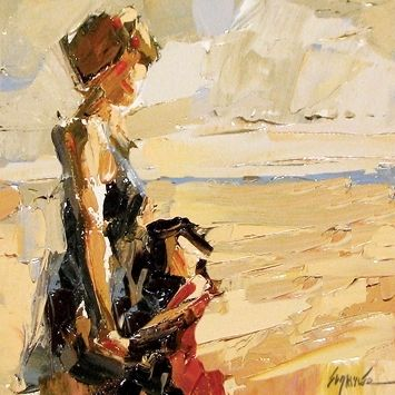 """Beach Time"" by Sally Shisler, palette knife painting, palette knife instructor, impressionism, impressionist, mother daughter, sunset, summ..."