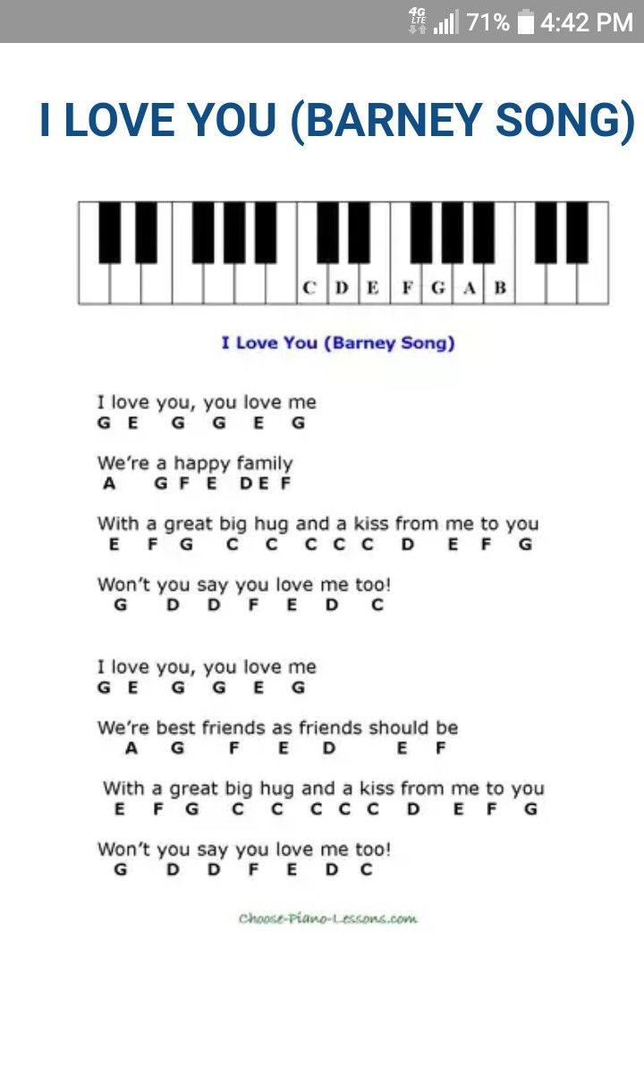 I Love You Nursery Rhymes Piano Sheet Music Piano Sheet Music