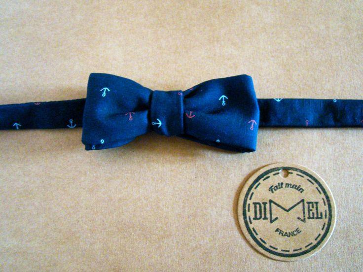 Nœud papillon à nouer bleu ancre marine ajustable SUR COMMANDE : Echarpe, foulard, cravate par dimel