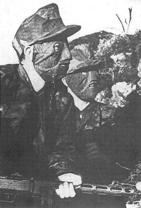 The Dirlewangers, (36th Waffen Grenadier Division of the SS), a military unit of the Waffen-SS, often wore masks in late1944, early 1945, due to the pictures taken of them during the Warsaw Uprising in August 1944. The Dirlewangers were the most criminal and heinous SS unit in Hitler's war machine.